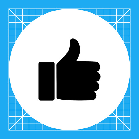 favorable: Illustration of human hand with extended thumb. Like sign, social media, favorable. Like concept. Can be used for topics like social media, digital marketing, signs