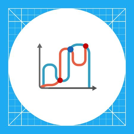 fluctuation: Icon of two line graphs Illustration
