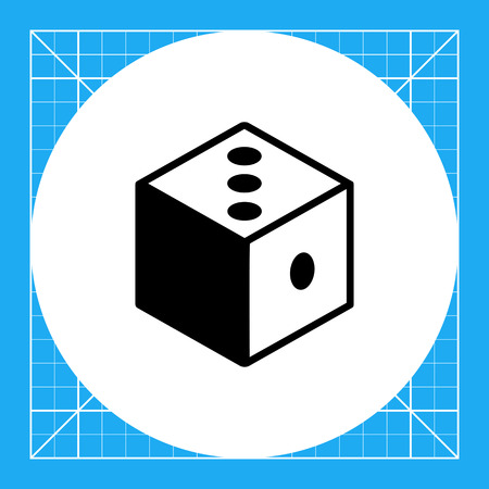 reasoning: Monochrome vector icon of 3d dice representing logic concept