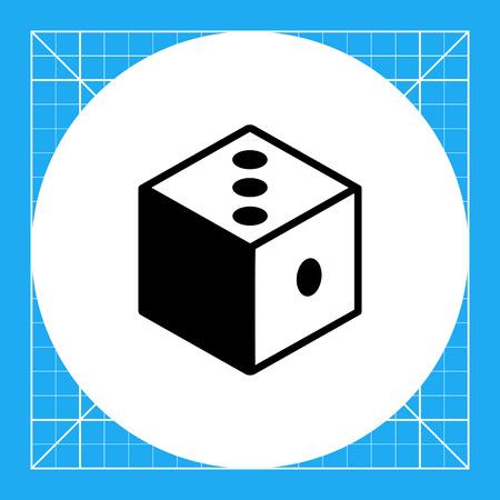 Monochrome vector icon of 3d dice representing logic concept