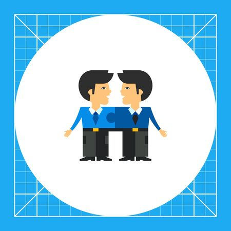 Two men connected like puzzle elements and talking to each other. Cooperation, unity, efficiency. Team cohesion concept. Can be used for topics like business, management, banking. Illustration