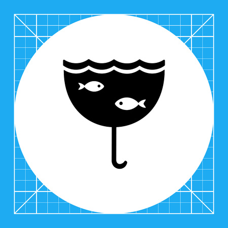 screwed: Monochrome vector icon of screwed out umbrella with picture of fishes, symbolizing London rain Illustration