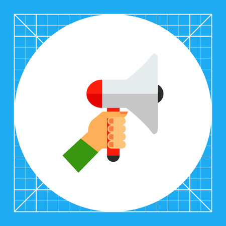 the topics: Illustration of hand holding loudspeaker. Promotion, advertising, megaphone. Promotion concept. Can be used for topics like marketing, promotion, advertising