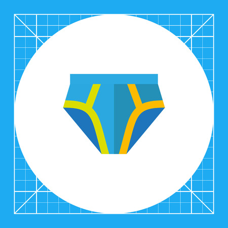 Multicolored vector icon of blue male underpants with yellow stripes