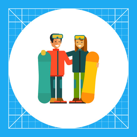 Multicolored vector icon of young man and woman with snowboards