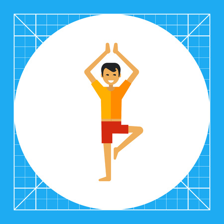 icono de vectores multicolor de un joven levantando las piernas y las manos en alto
