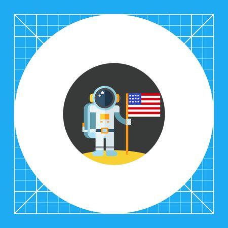 L'homme sur la lune tenue USA flag. Astronaute, surface, exploration. concept de l'espace. Peut être utilisé pour des sujets tels que l'astronomie, la technologie, la science.