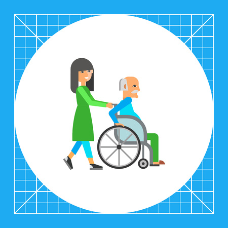 Multicolored flat icon of old man in wheelchair assisted by nurse