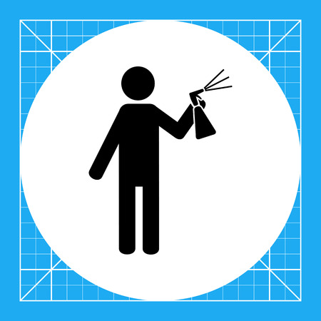 spraying: Man spraying liquid from bottle with sprayer into air. Air freshener, insecticide, paint. Spray concept. Can be used for topics like insect control, agriculture, household chemicals.