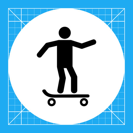 Man skating on skateboard. Balance, fun, skill. Skating concept. Can be used for topics like sport, lifestyle, transport. Illustration