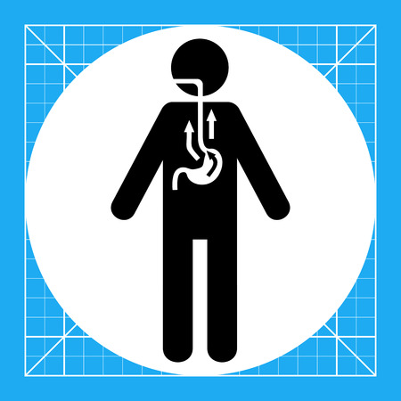 reflux: Man suffering from reflux. Indigestion, intoxication, pain. Reflux concept. Can be used for topics like medicine, health, chemistry.