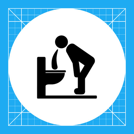 dietology: Man bending over toilet and vomiting. Sickness, poisoning, stomach ache. Vomiting concept. Can be used for topics like health, medicine, dietology. Illustration