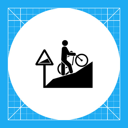 steep: Man walking uphill and pushing bicycle. Tired, difficult, steep. Uphill concept. Can be used for topics like sport, lifestyle, bicycling. Illustration
