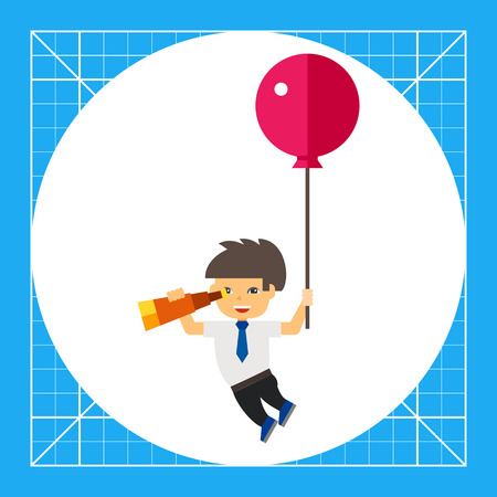 looking for: Illustration of man flying with balloon and looking through spyglass. Flying, spying, searching for business ideas. Searching concept. Can be used for topics like business ideas, search, flight