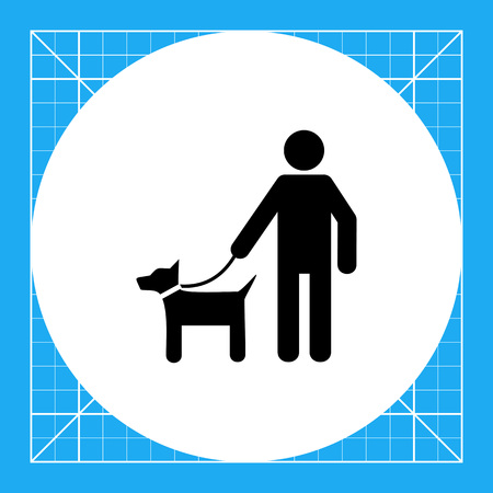 lifestyle outdoors: Man with dog on lead. Walk, outdoors, protection. Pets concept. Can be used for topics like domestic animals, lifestyle, nature.