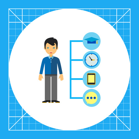 Multicolored vector icon of manager and icons of business planning and results, representing management concept