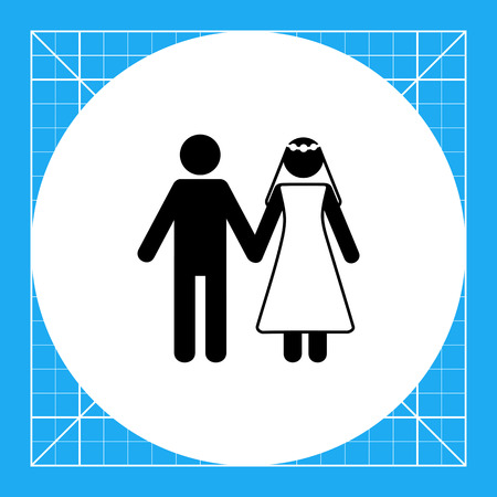 Man and woman in wedding dress holding hands. Happiness, love, celebration. Marriage concept. Can be used for topics like marriage, wedding, traditions.