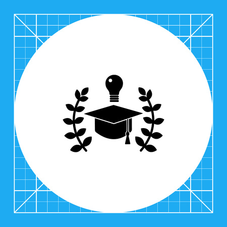 Graduation cap with laurel leaves. Mastery, university, education. Education concept. Can be used for topics like education, study, school