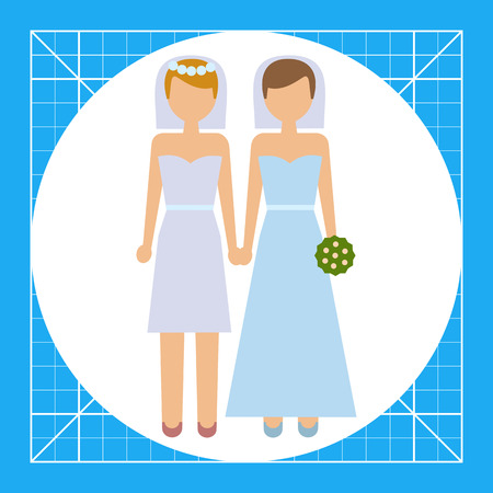 group of young adults: Icon of two brides Illustration