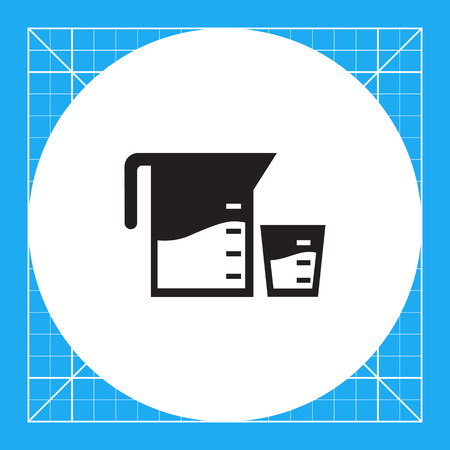 filled: Vector icon of measuring jar and cup filled with liquid