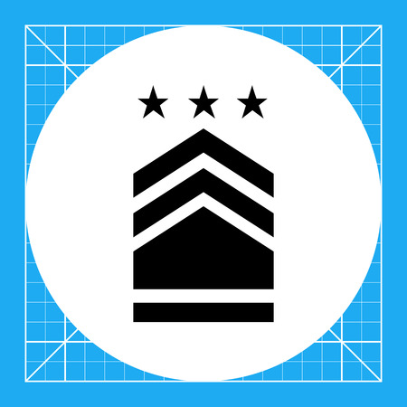 distinguishing: Military badge with three stars. Rank, uniform, identification. Army concept. Can be used for topics like armed forces, war, military science. Illustration