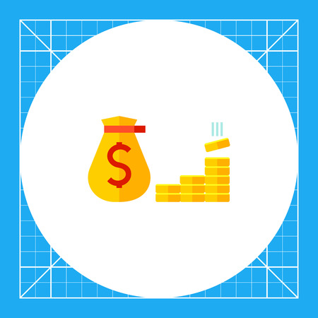 Multicolored vector icon of money, sack with dollar sign and golden coins