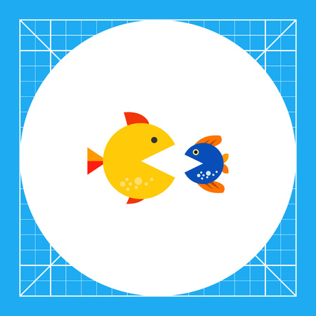 Big and small fishes with open mouths, looking at each other. Struggle, survival, danger. Merger and acquisition concept. Can be used for topics like business, consulting, finance, banking.