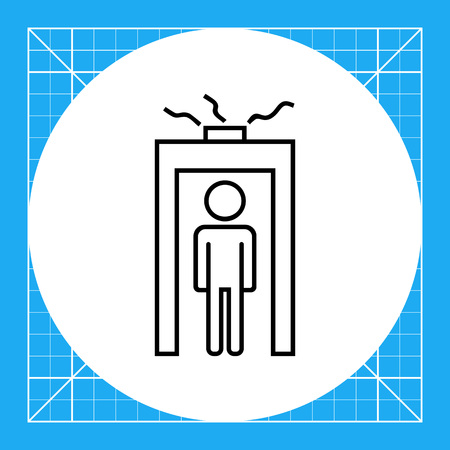 Icon of man silhouette going through metal detector gate with glowing beam Vetores