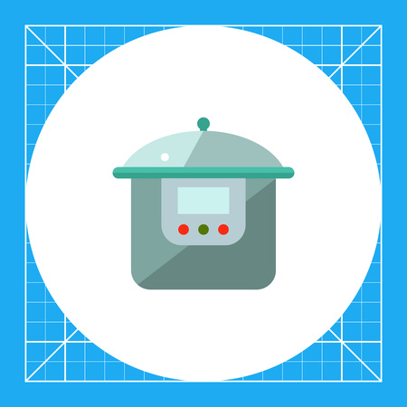 steam cooker: Multicolored vector icon of multicooker with display and button Illustration