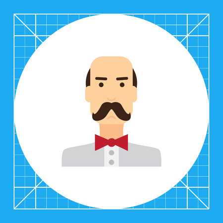 Male character icon, portrait of balding man wearing moustache