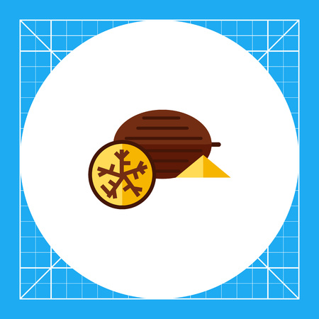 Multicolored vector icon of whole nutmeg and half