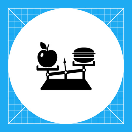 Monochrome vector icon of balance with apple on one scale and hamburger on another representing nutrition concept