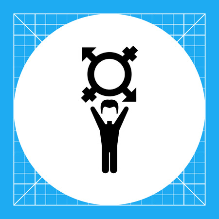 gay men: On coming out vector icon. Black illustration of male character with transgender symbol