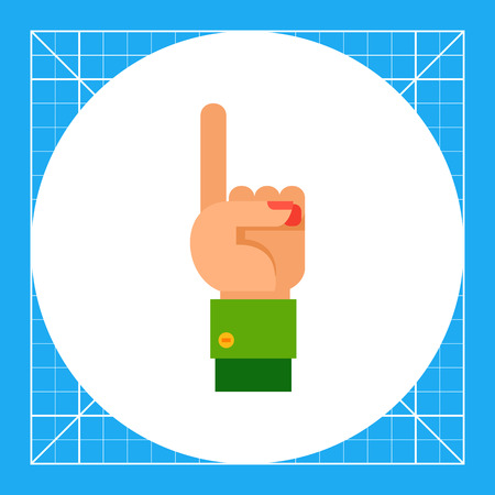 nonverbal: Illustration of left hand with one finger up. Hand gesture, number, index finger. Hand gesture concept. Can be used for topics like hand gesture, counting, nonverbal communication Illustration
