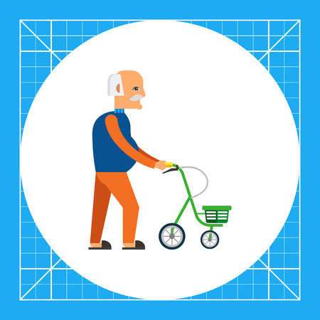confined: Multicolored flat icon of old man with walkers