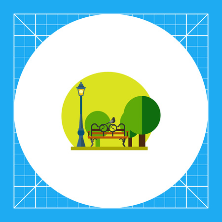 Illustration of park with lamp, trees, bench and bird sitting on it. Summer, leisure activity, entertainment. Park concept. Can be used for topics like summer, park, leisure activity