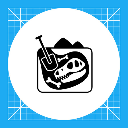 excavations: Monochrome vector icon of excavations with dinosaur skull and bones representing paleontology concept