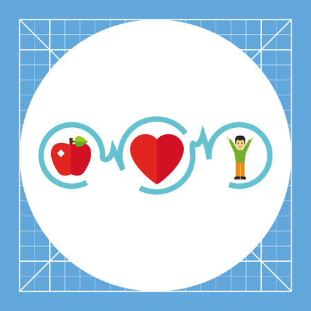infarct: Connected apple, heart and man. Healthy, fitness, life. Healthy heart concept. Can be used for topics like medicine, cardiology, health, healthcare. Illustration