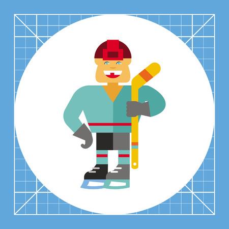ice hockey player: Illustration of smiling hockey player holding hockey stick. Sport, ice hockey, ice skates, hockey helmet. Ice hockey concept. Can be used for topics like sport, ice hockey, team game