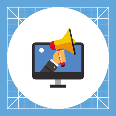 Hand with megaphone emerging out of computer monitor screen. Information, optimization, promotion. Influencer marketing concept. Can be used for topics like business, technology, advertising.
