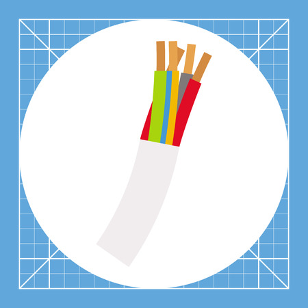 Illustration of multi-conductor wire cord. Electricity, technology, conductor. Wire cord concept. Can be used for topics like technology, electricity, voltage