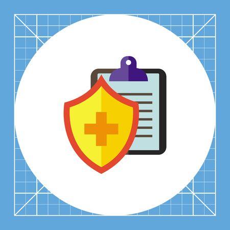 ドキュメントとシールド クロスします。病院、保護、契約。医療保険の概念。医学、健康、医療のようなトピックに使用できます。