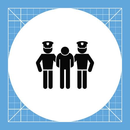 jurisprudencia: El hombre detenido por dos policías. Arresto, la culpa, el crimen. concepto penal. Puede ser utilizado para temas como la jurisprudencia, la criminalidad, negocios.