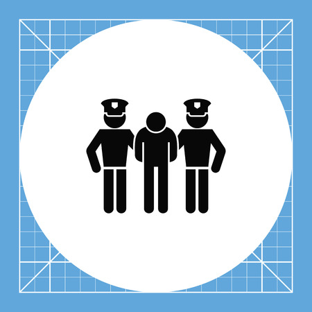 jurisprudence: Man detained by two policemen. Arrest, guilt, crime. Criminal concept. Can be used for topics like jurisprudence, criminality, business.