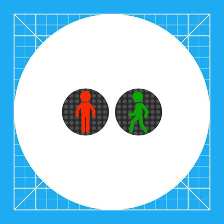 semaforo peatonal: Ilustración de los semáforos para peatones en rojo y verde. las normas de tráfico, reglamentos, calle. concepto de tráfico. Puede ser utilizado para temas como el tráfico, las normas de circulación, seguridad