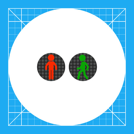 Illustration of red and green pedestrian traffic lights. Traffic rules, regulations, street. Traffic concept. Can be used for topics like traffic, road rules, safety Illustration