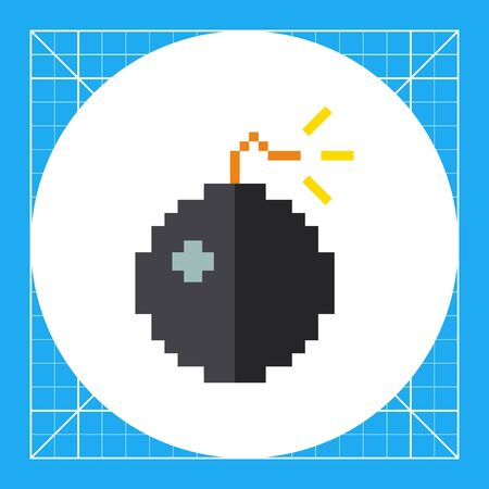detonating fuse: Multicolored vector icon of pixel bomb burning wick