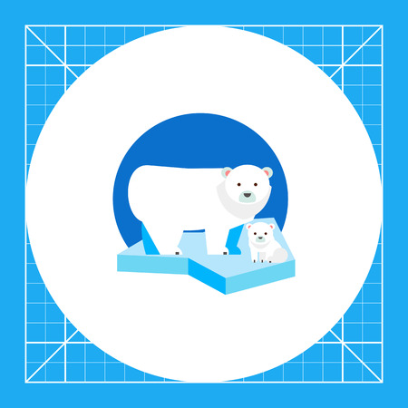 floe: Polar bear and its cub on ice floe. Snow, cold, predator. Polar bear concept. Can be used for topics like nature, north, zoology.