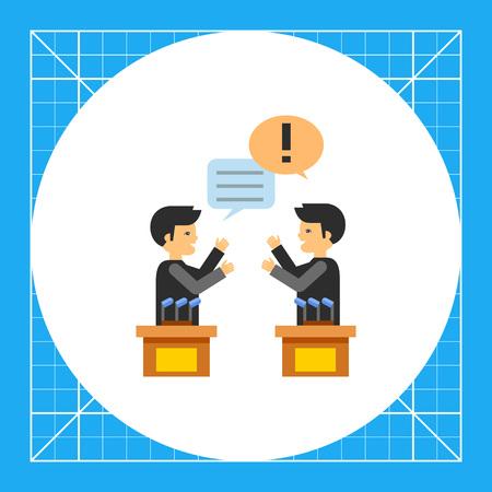 sociologia: Dos personajes masculinos en los debates políticos. Las emociones, el argumento, la opinión. Debates concepto. Puede ser utilizado para temas como la política, la comunicación, la sociología.