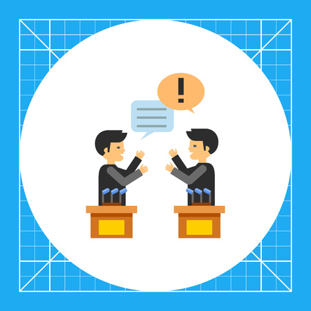 opinion: Two male characters in political debates. Emotions, argument, opinion. Debates concept. Can be used for topics like politics, communication, sociology. Illustration